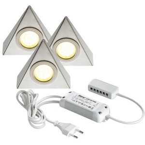 Kit de 3 spots LED triangulaires - 1,6 W